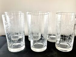 Heisey Orchid Etched 12 Oz Tumbler/ Water Glass Set Of 6
