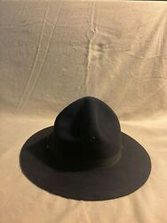 Black Genuine Rcmp Style 3x Beaver Stetson Hat, Size 7 3/4. Great Condition