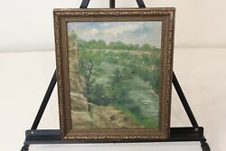 Antique Oil Painting Trees Water Cliff 1932 Hudson River Valley Gorge Falls