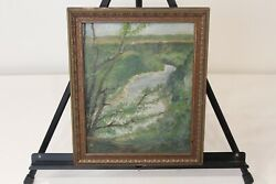 Antique Oil Painting Hudson River Valley Gorge Water Trees 1932 Framed