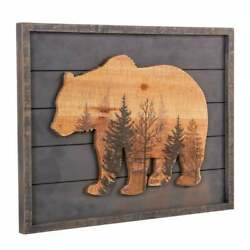 Large Rustic Grizzly Bear Wall Art Forest Wood Lodge Sign Cabin Barn Wood Framed