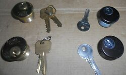 Lot Of 4 All 5 Lock Marks Mortise Cylinder 1 Inch, Brass, Black, Nos, With Keys