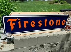 Firestone Large Embossed Metal Sign Dated 1947 48x 16 Nice Condition