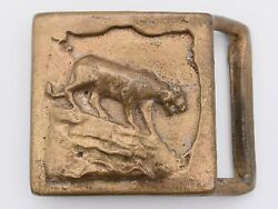 Colonial Leather Co Rare 1970s Mountain Lion Solid Brass Vintage Belt Buckle