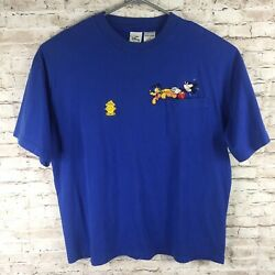The Disney Store Mickey Mouse And Pluto Embroidered Shirt - 2xl - 90and039s Vintage