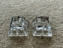 Two 2 Retired Rosenthal Germany Madison Crystal Square Candle Holders Mint