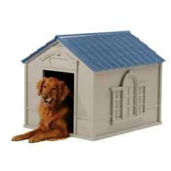 Suncast Indoor amp; Outdoor Dog House for Medium and Large Breeds Tan Blue