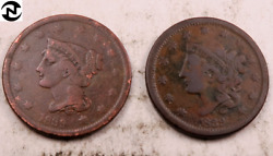1839 Coronet Head + Braided Hair Large Cent Set-lot // Vf // 2 Coins Lcl91