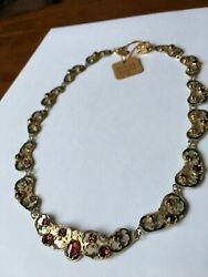 Beautiful Holly Yashi Necklace Silver Gold With Red Stones And Box Clasp
