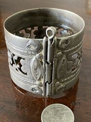 19th Century Antique Tribal Old Silver Large Cuff Bracelet Not A Reproduction