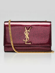 Yves Saint Laurent Pink Glitter Patent Leather Small Kate Bag $1360.00