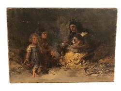 1877 Genre Painting Mother And Children By The Fire Signed Illegibly No Reserve