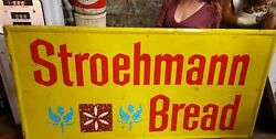 Vintage Metal Stroehmannand039s Bread Embossed Advertising Sign 72 X 36 Rare Sign
