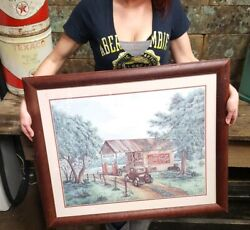 Vintage Coca Cola Print Mike's Garage By Kay Lamb Shannon Wood Framed Auto Pumps