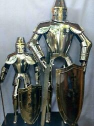 Medieval Knight Full Body Armor With Shield And Sword 15th Century Suit Of Armor