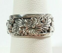 Navajo Tom Dinetso Sterling Silver Intricate Etched Flowers Size 8 Ring