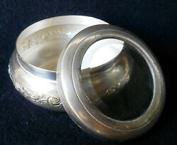 Antique Italy Silverplated Roses Decoration Beleved Glass Rosary Case Lttle Box