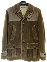 Polo Corduroy Hunting Jacket W/ Leather Size S Brown