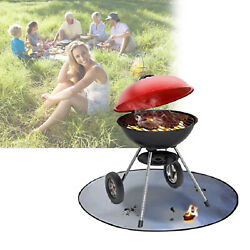 Round Fire Pit Mat Bbq Fireproof Grill Mat Deck Cover Protector For Outdoors