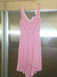Bebe Dress Pink And White Stripe High Low Hem Low Vee Back And Neck Sz M Fit N Flare