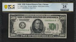 500 1928 Federal Reserve Note Fr. 2200g Pmg Vf25-100 Impossible To Find 28and039s