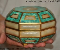5old Chinese Dynasty Bronze 24k Gold Gilt Inlay Turquoise White Jade Box Boxes
