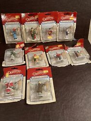 Vintage 95-96 Lemax Dickensvale Lot Of 10 Porcelain Figurines New Damaged Box