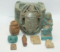 Ancient Egyptian Antique Scarab Box Has Isis Nursing Horus Statue, Other Amulets