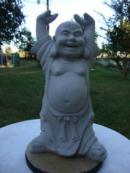 YOUNG HANDS UP BUDDHA HAPPY HOTEI GRAY CONCRETE CEMENT STATUE