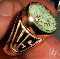 Antique Ww2 World War 2 Dated 1944 Us Military Ring W/ Royston Turquoise Vafo