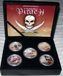 5 Coin 2009 Golden Age Of Piracy .999 Silver Proof Set Perth Mint Coa And Ogp