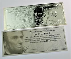 Ultra Rare 1 Ounce Silver 5 Dollar Proof Bill .999 With Coa Excellent Condition
