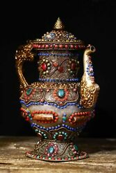 11.6old Tibet Temple Natural Crystal Carving Inlaid With Gems Tianzhu Pot