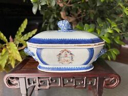 Excellent Chinese 18thc Export Armorial Tureen With Lid