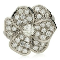 Pre-owned 18ct White Gold Diamond Floral Cluster Ring
