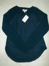 Cloud Chaser Sweater Size Small Women#x27;s Juniors Long Sleeve Blue Lace Floral New $9.00