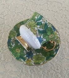 Vintage Elizabethan Fine Bone China Tea Cup And Saucer Blue Green 1970and039s Retro