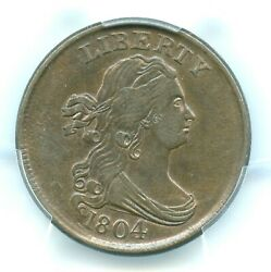 1804 C-10 Crosslet 4 Stems Draped Bust Half Cent Pcgs Au58 Cac Approved
