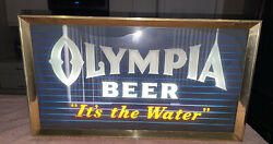 Vintage 50andrsquos 60andrsquos Olympia Beer Its The Water Parneon Glass Lighted Sign