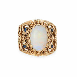Opal Cigar Ring Vintage 14k Yellow Gold Sz 8 Wide Band Sapphire Fine Jewelry