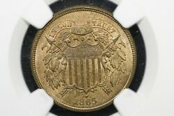 1865 Two Cent Piece Ngc Ms-65 Rb Cac More Red Than Brown
