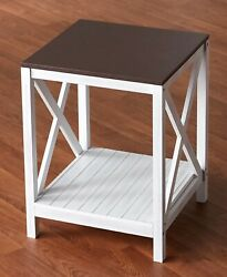 Two-toned White Wood End Side Accent Table Farmhouse Country X Design