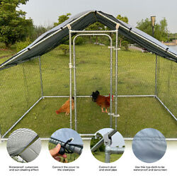 Large Metal Chicken Coop Walk-in Poultry Cage Hen Run House Rabbits Habitat Cage