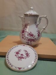 Hutschenreuther Maria Theresia Linderhof Maroon Floral Teapot And Hot Plate