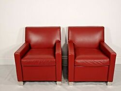 Stunning Pair Of Bb Italia Imprimatur Armchairs In Oxblood Red Leather