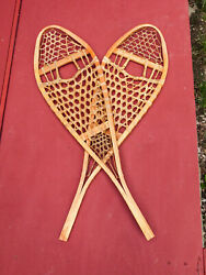 Vintage Wooden Torpedo Snowshoes 12 X 42 Excellent Never Used, Found In Maine