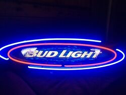 Vintage Bud Light Oval Hanging Neon Sign - Irregularity At The B And T P/up Only
