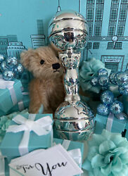 """Tiffanyandco Barbell Baby Rattle Bear Stars Ball Tether Sterling Silver 5.25"""" Gift"""