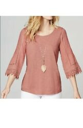 New J. Jill 2x 4x Lace Pintucked 3/4 Slv Knit Tee Cotton/modal Rose Pink