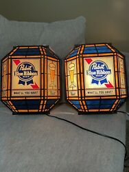 """Rare Pair Of '86 Pabst Blue Ribbon Beer Sign And Light """"what'll You Have""""lanterns"""